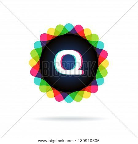 Retro bright colors Logotype, Letter Q, isolated on white