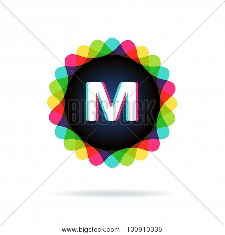 Retro bright colors Logotype, Letter M, isolated on white