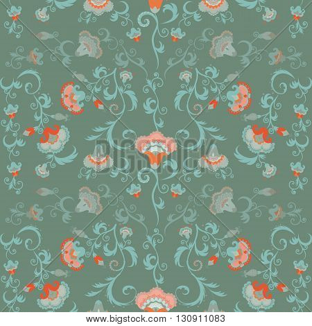 Oriental flowers pattern floral ornament in green hues. Intricate complex seamless tribal vector wallpaper with pastel color