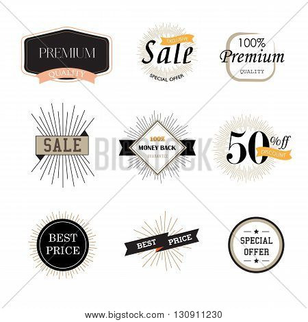 Set of vintage premium quality stickers. Vector illustrations for sale, sell products, discounts, the mark of quality.