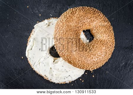 Cream Cheese Bagel (on A Slate Slab)