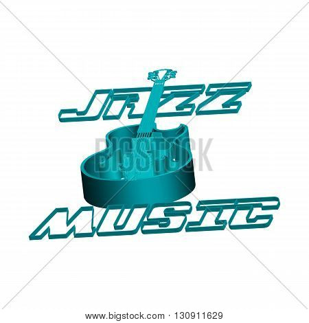Vector illustration object isolated on white background inscription jazz music and jazz guitar from the circuit. Can be used with any text or image background.