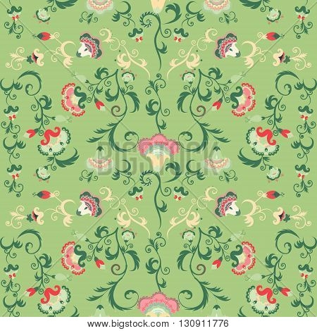 Seamless intricate vector pattern with stylized eastern flowers