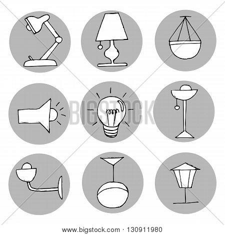 Hand drawn light icons set. Vector illustration.