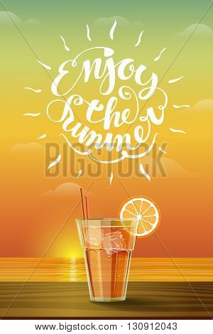 Cold citrus drink at sunset. Hello Summer concept with lettering.
