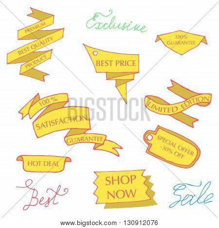 Set of bright color badges and stickers. Vector illustrations for e-commerce, product promotion, advertising, sell products, discounts, sale.