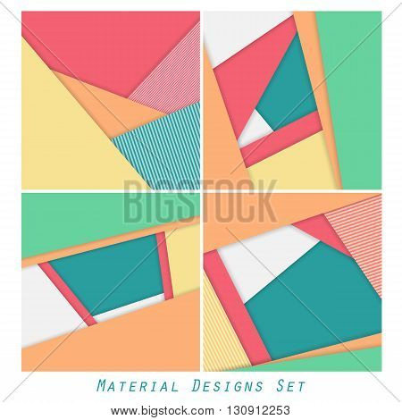 Unusual modern material design vector backgrounds. Geometric shapes. Material design collection. Vector backgrounds set. Eps10 vector illustration