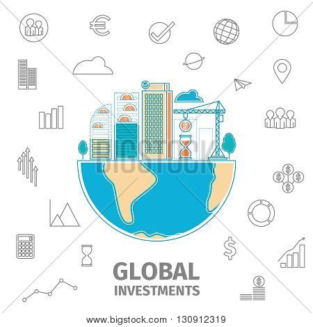 Global Investment thin line concept. Global business flat line vector illustration. Building under construction on the globe.