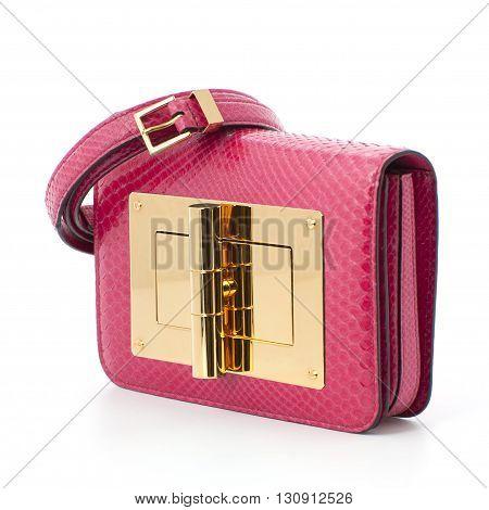Women Glamorous Pink Bag Made Of Crocodile Leather..