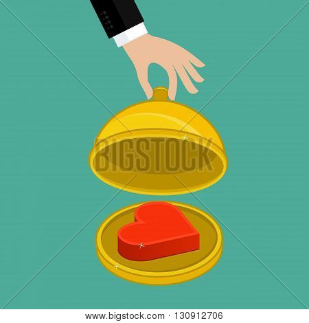 Concept of attracting customers and clients to business. Restaurant cloche with icon of heart. Vector isometric illustration.