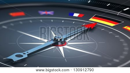 3D illustration of a compass with the needle pointing the german flag. Concept of germany excursion or tour.