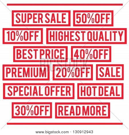 Super sale, special offer, best price, premium rubber stamps. Vector illustration.