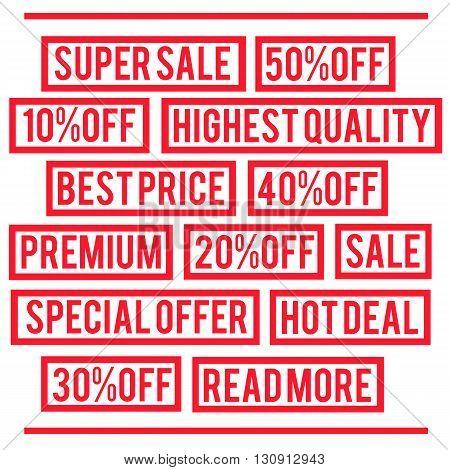 Super sale, special offer, best price, premium rubber stamps. Vector illustration.