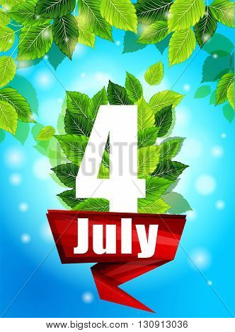 Realistic concept with blooming daisies. Quality background with green leaves. Bright poster July 4th with flowers and the