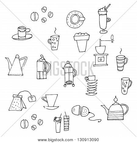 Hand drawn coffee and tea sketches. Vector illustration set.