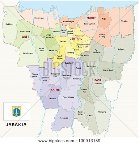 Special Capital Region of Jakarta administrative map with flag