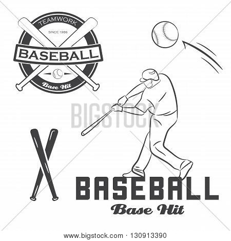 Set of vintage baseball label, bat and ball. Vector illustration.