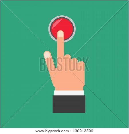 Pressing button. Hand pressing the red button. Pressing finger on red button. Press button design. Man pressing button. Push button concept.