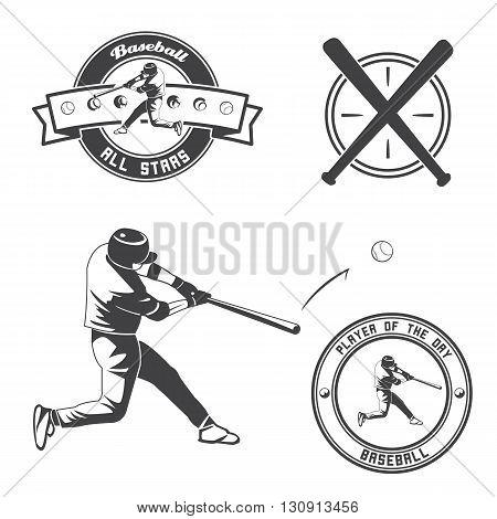 Vintage baseball label and badge. Vector illustration.