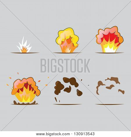 Explosion effect in cartoon style. Effect boom, explode flash. Illustration in vector. Animation frames for game.