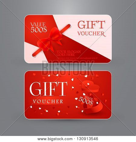 Gift voucher template with bow and gift box in shape of heart. Vector illustration. EPS 10