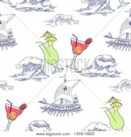 Seamless pattern with waves, ships and cocktails. Hand drawn vector illustration