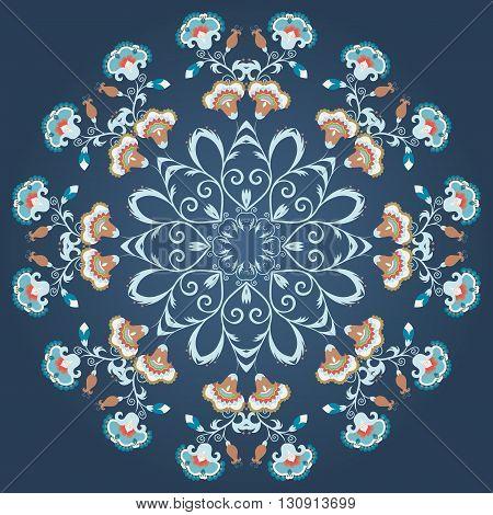 Floral round ornament mandala in vintage style. Indian eastern circular flower motif vector pattern on dark background