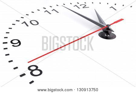 Clock and timestamp with numbers. Isolated 3D rendering on white background
