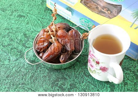 Kota kinabalu, Sabah Malaysia - May 21, 2016: Dried dates named Safia, one of the bestselling dates under Yusuf Taiyoop's brand, Yusuf Taiyoop Sdn. Bhd. since 1980s