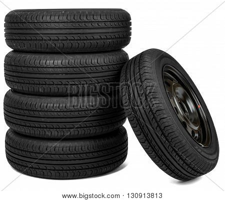Front view photo of some tires. Isolated on white background for repair shop or shop design
