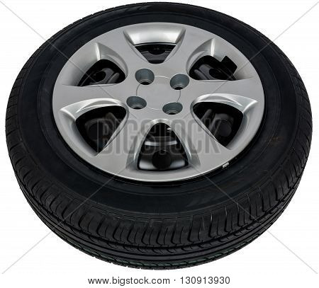 Photo of car tyre isolated on a white background