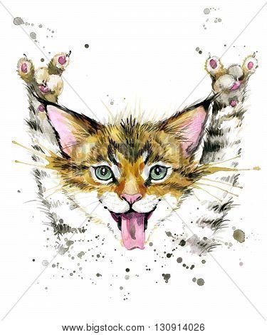 Cat. Cute cat. Watercolor Cat illustration. Birthday card. T-shirt print. Greeting card. Pet illustration. Poster illustration. Kitten.
