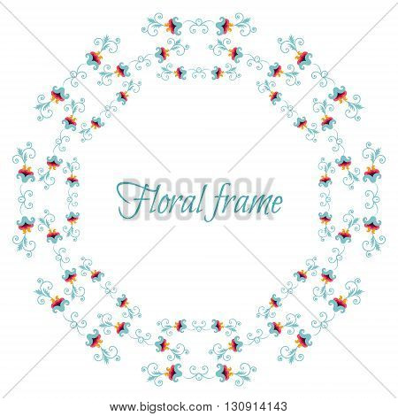 Elegant floral frame border. Stylized flowers and leaves arranged in a wreath garland. Great for wedding invitations and birthday cards. Isolated on white background copy space