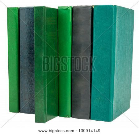 Book set isolated on white background, closeup
