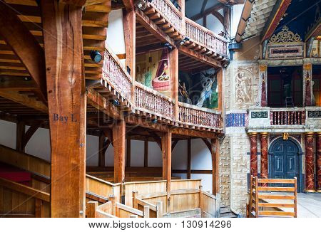 London England - January 30 2012: The Shakespeare's Globe theatre rebuilded with the same materials and tecniques of the original