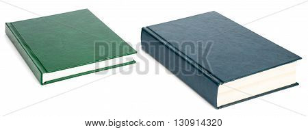 Two books with blank covers isolated on white background