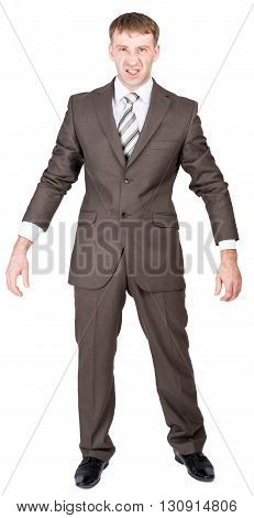 Angry businessman looking at camera isolated on white background