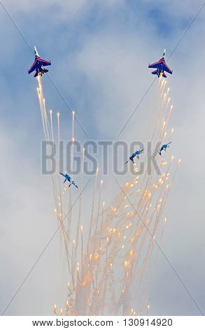 Kubinka, moskow region, Russia - may 21, 2016: Aerobatic team shows demonstration flight at Kubinka.