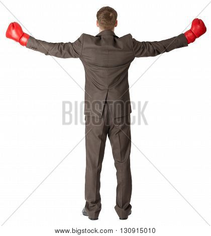 Back view of businessman in red boxing gloves isolated on white background