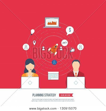 Planning strategy and marketing strategy concept. Investment growth. Investment management. Planning process. Planning meeting. Planning strategy icons vector. Planning strategy vector isolated