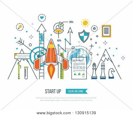 Color line flat design composition and infographics elements concept for start up business and finance strategy. Strategy for successful business. Investment growth. Investment business
