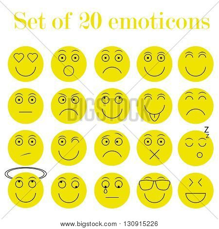 Set of thin line emoticons, emoji isolated on yellow background, vector illustration. Different plain emotions collection