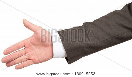 Giving male hand in business suit isolated on white background
