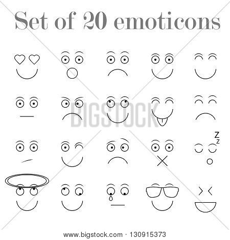 Set of thin line emoticons, emoji isolated on white background, vector illustration. Different plain emoticons collection
