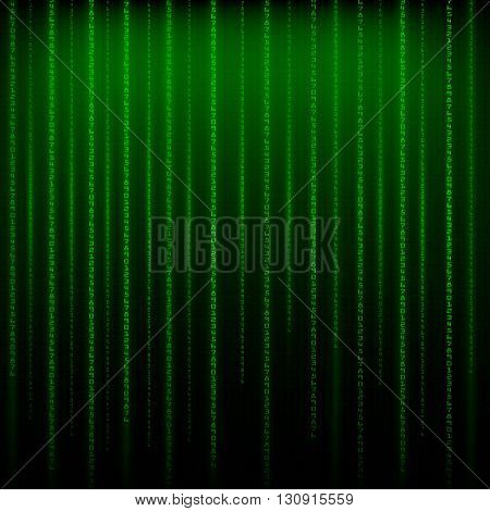 Matrix an abstract background the movement of vertical figures on a green backgroun