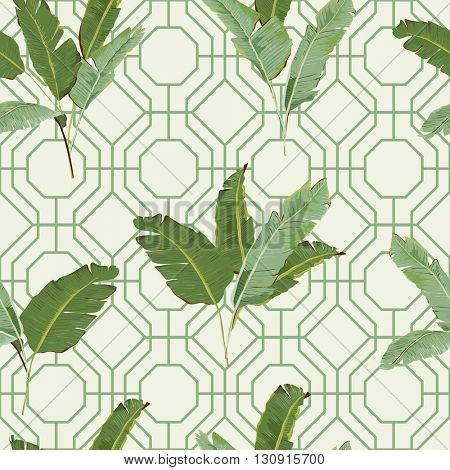 Seamless Pattern. Tropical Palm Leaves Background. Banana Leaves. Vector Background.