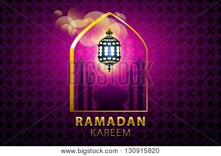 Hanging Colorful Arabic Lantern For Holy Month Of Muslim Community. Shiny Greeting Islamic Lamp For