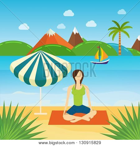 Modern flat vector icons of healthy lifestyle, fitness and physical activity. Women yoga summer in the sand on the beach