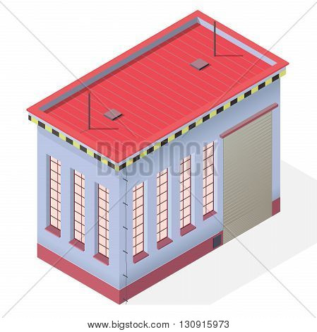 Assembly shop isometric building exterior. Vector industrial engineer house workshop. Blue isometric workroom house. Flatten isolated master illustration.