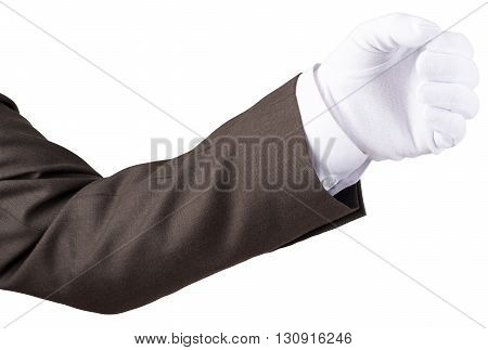 Hand fist gesture in glove isolated on white background